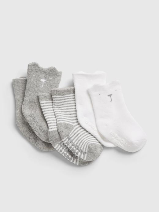 Erkek Bebek Gri %100 Organik Pamuk 3'lü First Favorite Çorap Seti