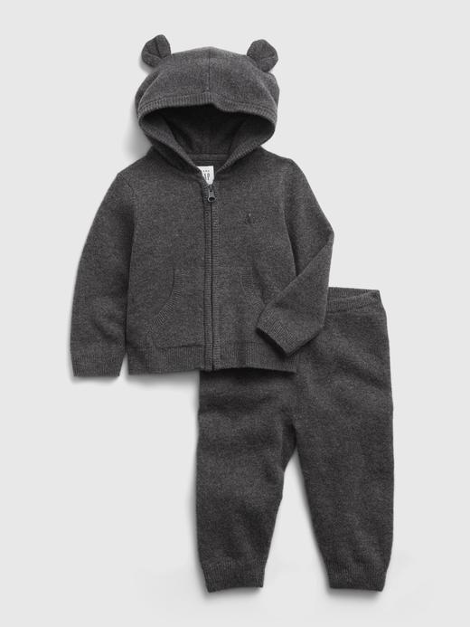 Erkek Bebek Gri Brannan Bear Sweatshirt Takımı