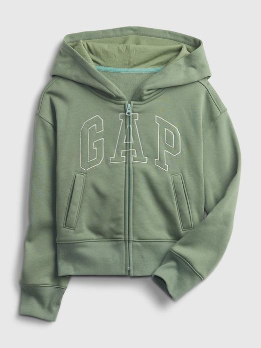Kız Çocuk Yeşil Gap Logo Kapüşonlu Sweatshirt