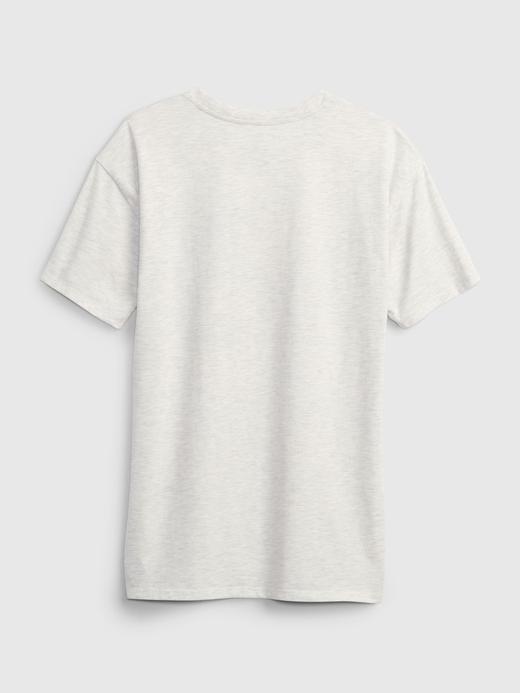 Genç Kız Gri MTV Oversize Grafik Desenli T-Shirt