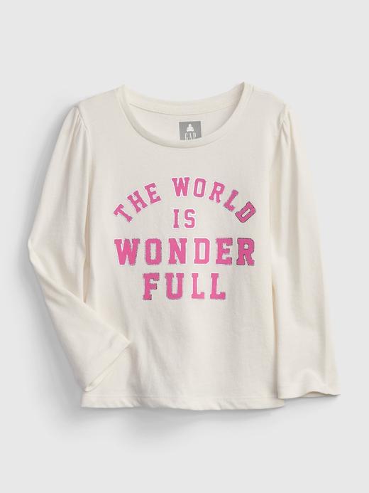 Kız Bebek Beyaz %100 Organik Pamuk Grafik Desenli T-Shirt