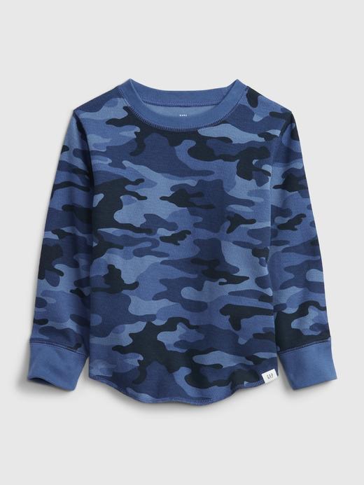Erkek Bebek Mavi Dokulu Uzun Kollu T-Shirt