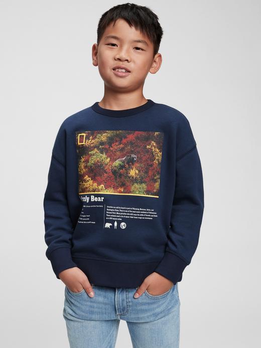 Erkek Çocuk Lacivert National Geographic Yuvarlak Yaka Sweatshirt