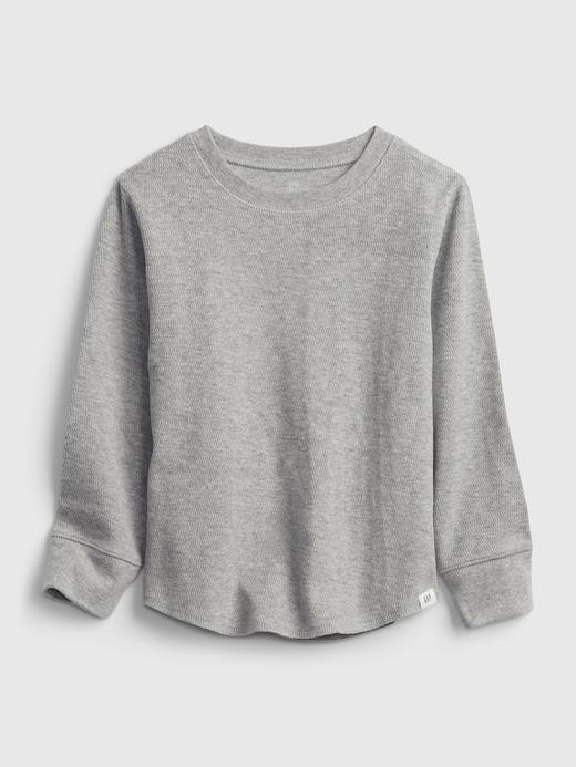 Erkek Bebek Gri Dokulu Uzun Kollu T-Shirt