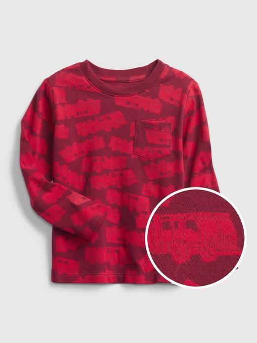 Erkek Bebek Kırmızı %100 Organik Pamuk Uzun Kollu T-Shirt