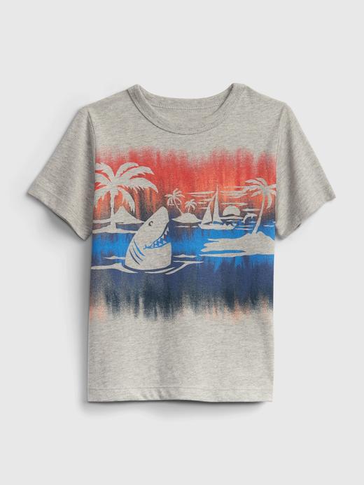 Erkek Bebek Gri %100 Organik Pamuk Grafik Desenli T-Shirt