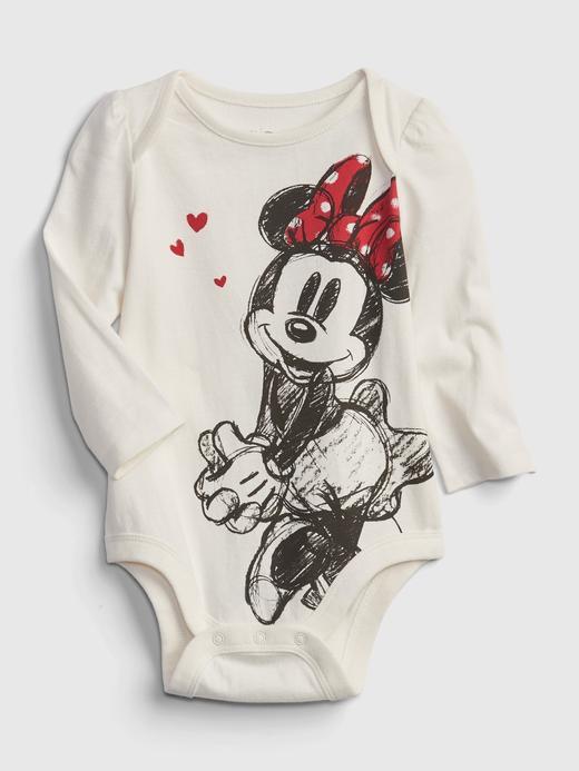 Kız Bebek Bej %100 Organik Pamuk Disney Minnie Mouse Bodysuit