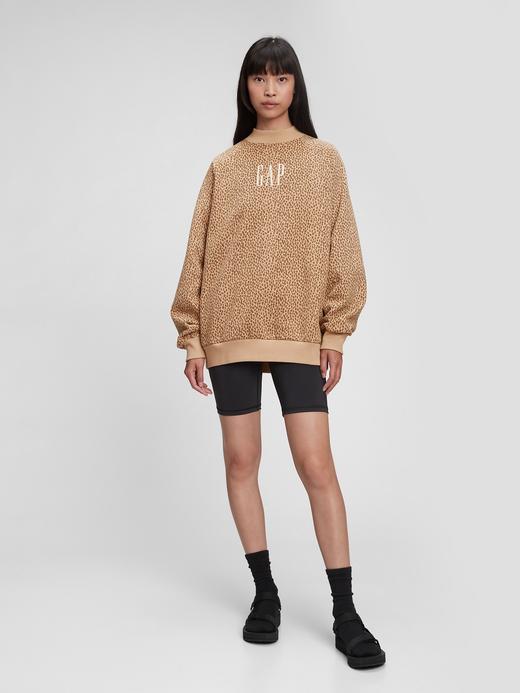 Kadın Kahverengi Gap Logo Yuvarlak Yaka Sweatshirt