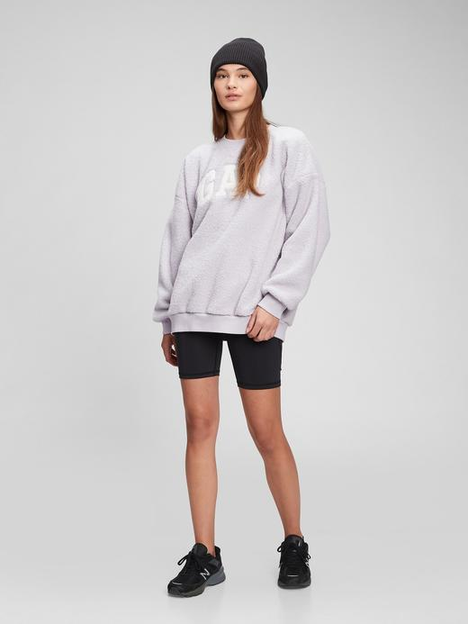 Kadın Bej Gap Logo Yuvarlak Yaka Sherpa Sweatshirt