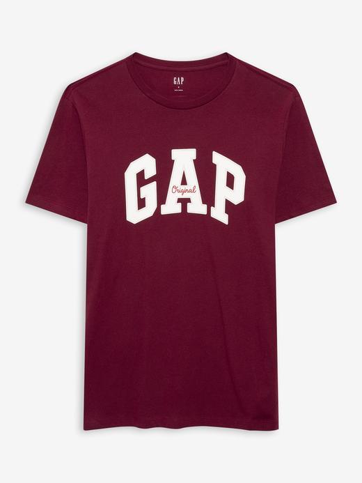 Erkek Kırmızı Gap Logo Yuvarlak Yaka T-Shirt