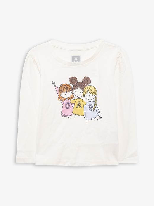 Kız Bebek Bej %100 Organik Pamuk Gap Logo T-Shirt