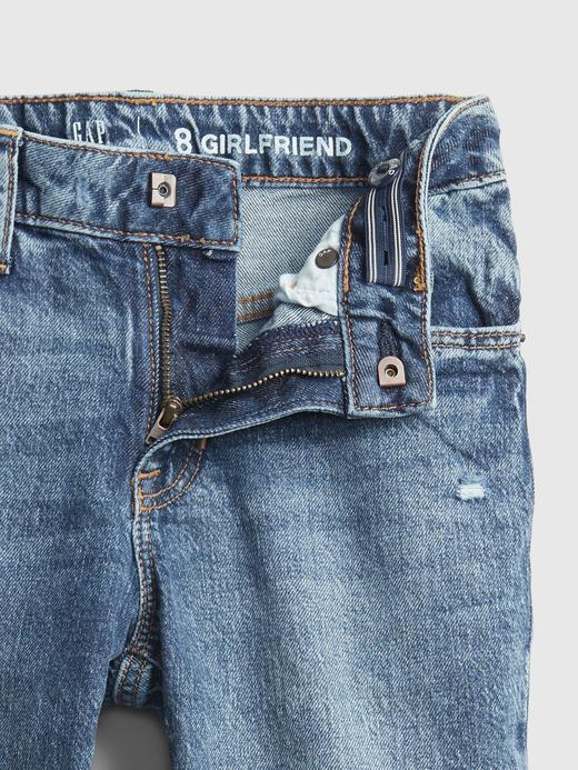 Kız Çocuk mavi Distressed Girlfriend Washwell™ Jean Pantolon