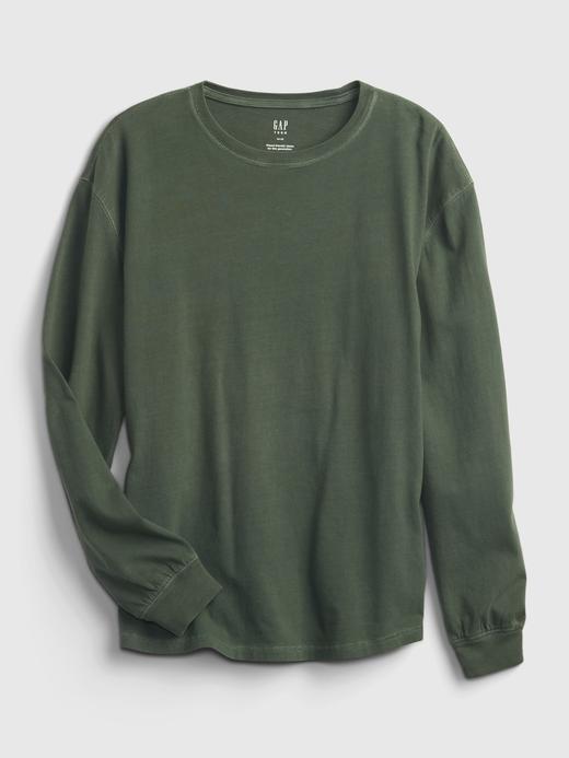 Genç Erkek Beyaz Teen %100 Pamuk Uzun Kollu T-Shirt
