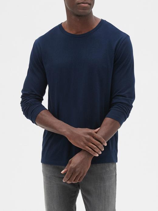 Erkek Lacivert Yuvarlak Yaka Uzun Kollu T-Shirt