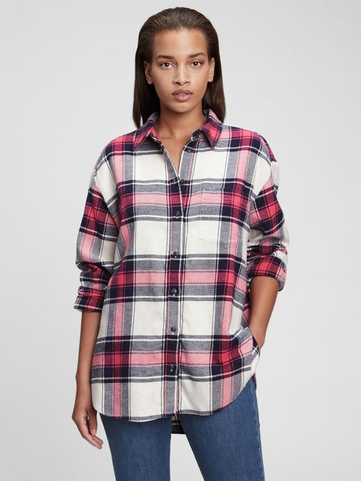 Kadın Lacivert Ekose Flanel Oversize Gömlek