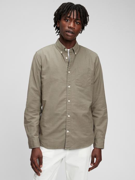 Erkek Yeşil Standard Fit Oxford Gömlek
