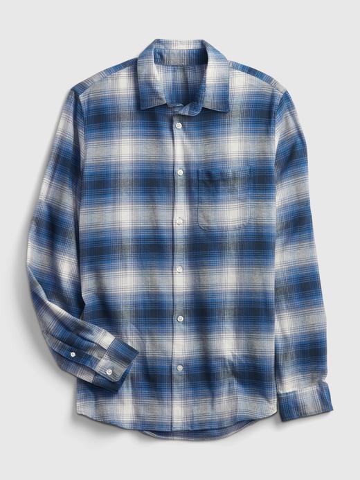 Erkek mavi Brushed Flannel Gömlek