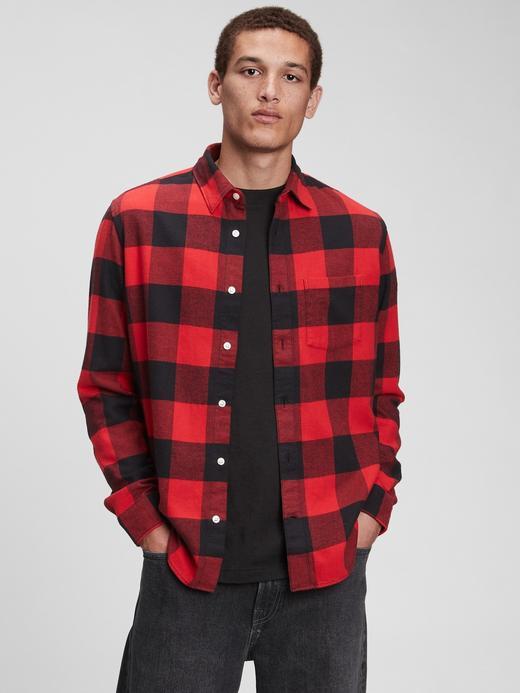 Erkek Kırmızı %100 Organik Pamuk Flanel Gömlek