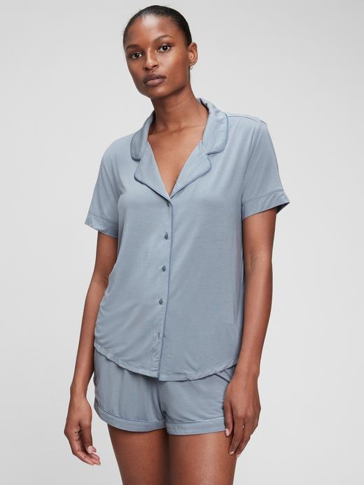 Kadın Gri Tencel Modal™ Pijama Üstü