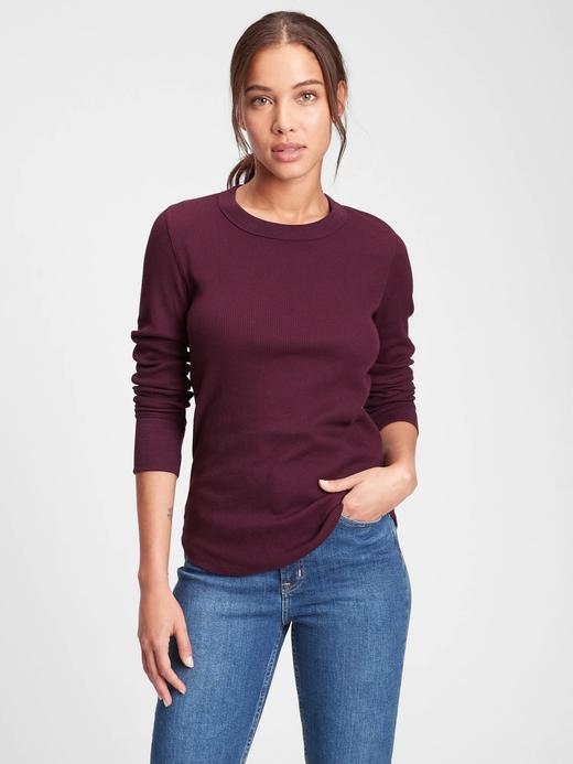 Kadın Kırmızı Waffle Örgü T-Shirt