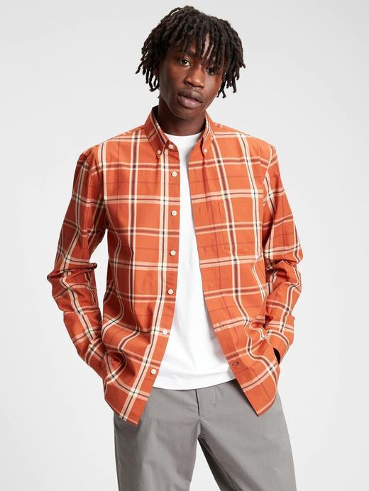 Erkek turuncu Poplin Untucked Fit Gömlek