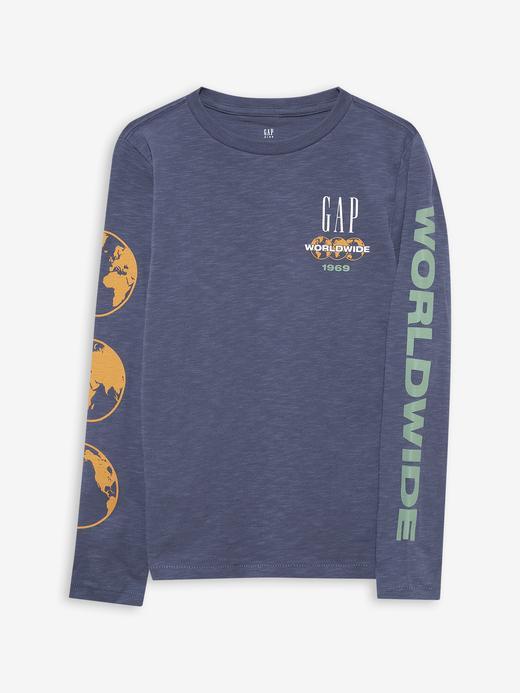 Erkek Çocuk Mavi Gap Logo T-Shirt