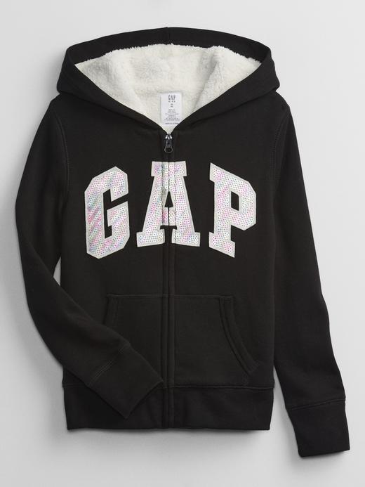 Kız Çocuk Siyah Gap Logo Sherpa Astarlı Fermuarlı Sweatshirt