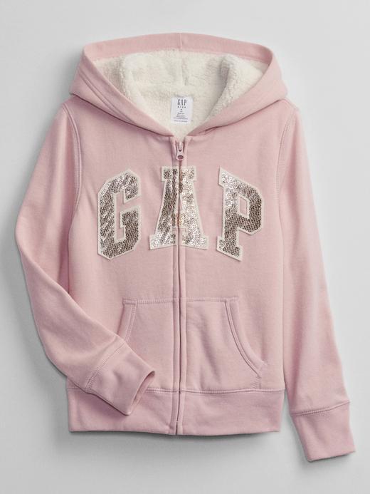 Kız Çocuk pembe Gap Logo Sherpa Astarlı Fermuarlı Sweatshirt