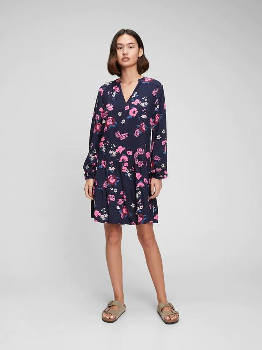 Kadın Lacivert V Yaka Mini Elbise