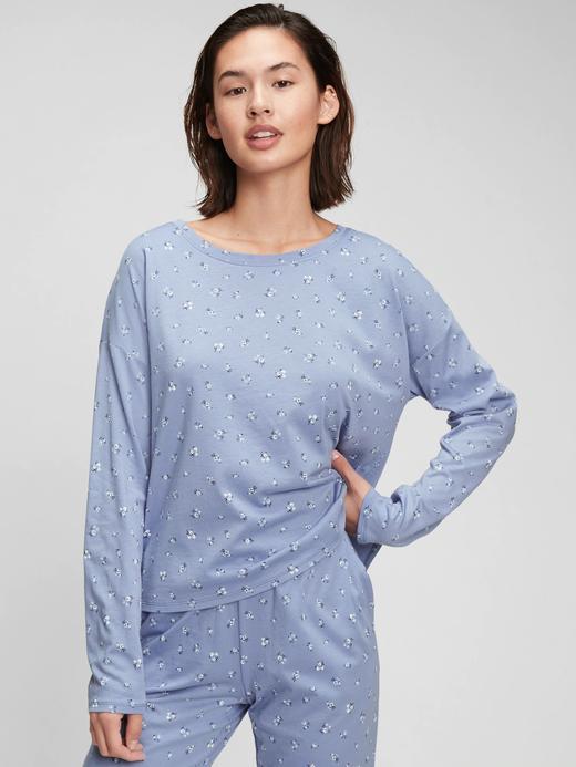Kadın mavi Pamuk Modal Karışımlı T-Shirt