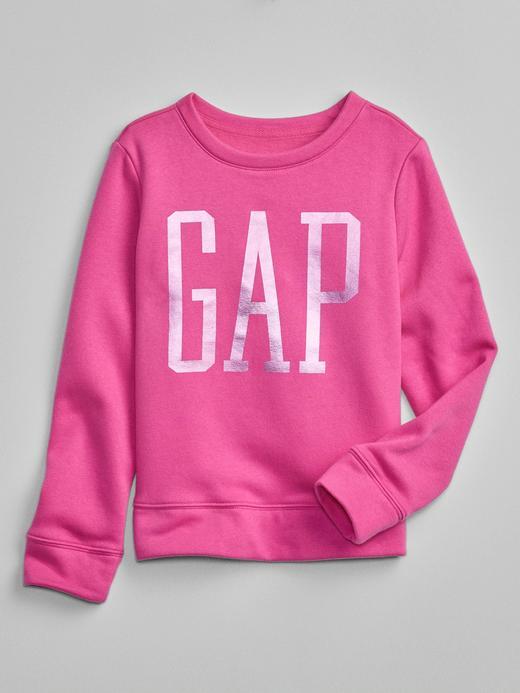 Kız Çocuk pembe Metalik Gap Logo Yuvarlak Yaka Sweatshirt
