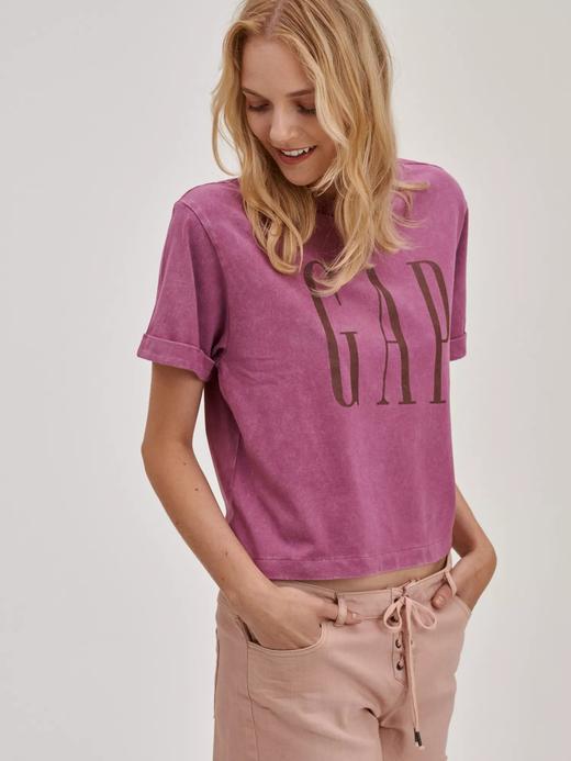 Kadın Mor Gap Logo Crop T-Shirt