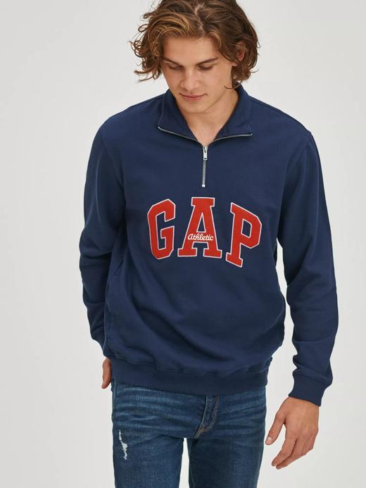 Erkek Lacivert Vintage Gap Logo Yarım Fermuarlı Sweatshirt