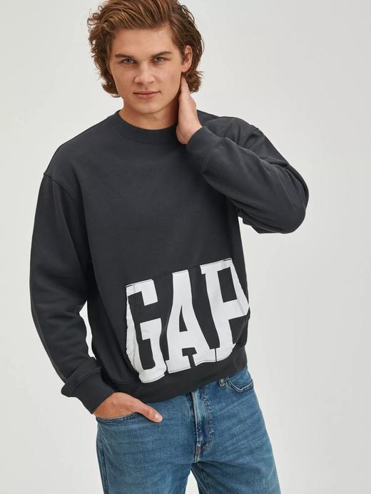 Erkek Siyah Gap Logo Oversize Yuvarlak Yaka Sweatshirt