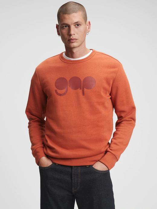 Erkek Turuncu Gap Logo Yuvarlak Yaka Sweatshirt