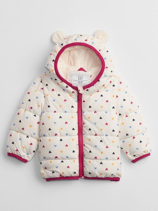 Kız Bebek Beyaz ColdControl Maxi Kalp Baskılı Puffer Şişme Mont