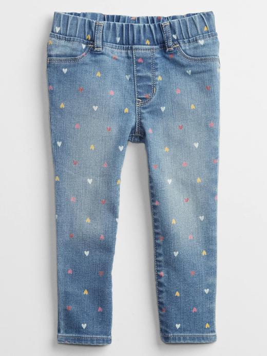 Kız Bebek Mavi Kalp Baskılı Pull On Legging Washwell™ Jean Pantolon