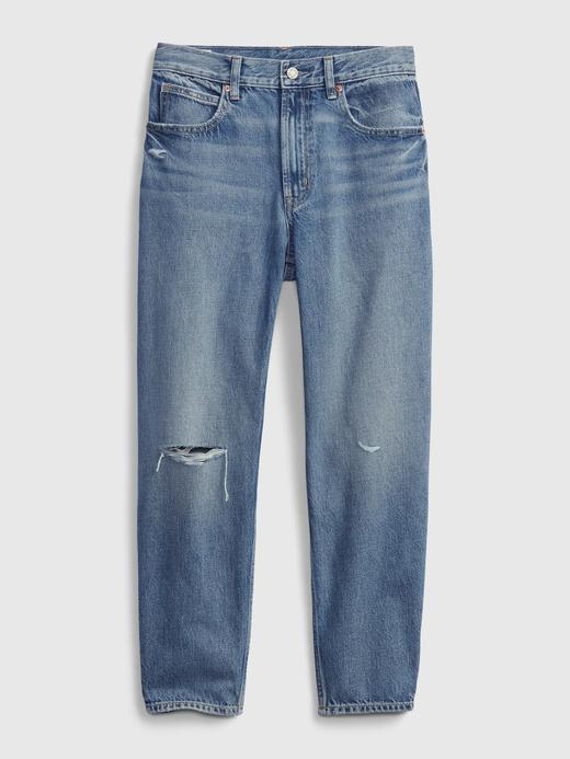 Kadın Mavi High Rise Distressed Barrel Washwell™ Jean Pantolon