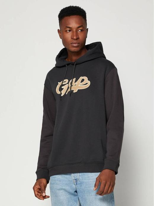 Erkek siyah Gap Script Logo Kapüşonlu Sweatshirt