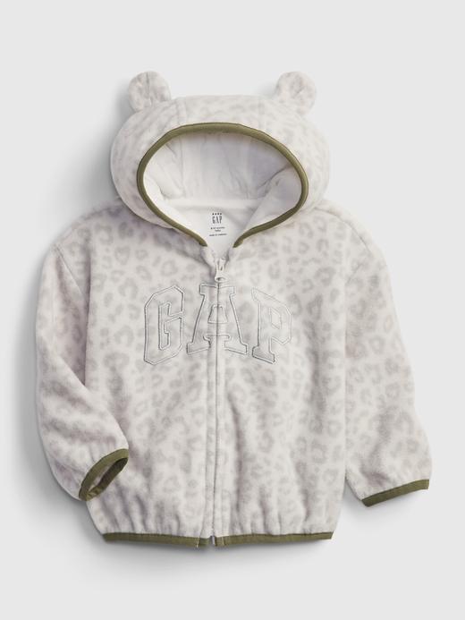 Kız Bebek Beyaz Gap Logo Fermuarlı Sweatshirt