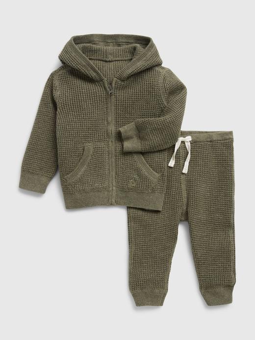 Erkek Bebek Yeşil Waffle Örgü Kapüşonlu Outfit Set