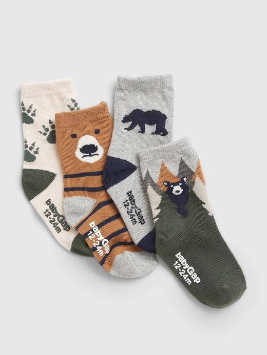 Bebek Çok Renkli 4'lü Grafik Desenli Çorap Seti