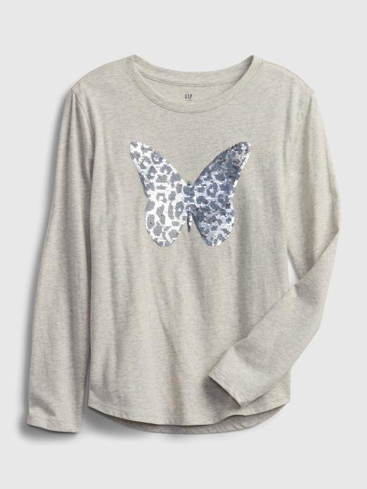 Kız Çocuk Gri %100 Organik Pamuk Grafik Baskılı İnteraktif T-Shirt