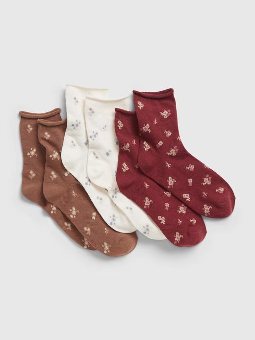 Kız Çocuk Çok Renkli 3'lü Grafik Baskılı Çorap Seti