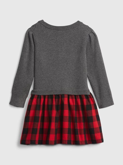 Kız Bebek gri Fitilli Triko Elbise