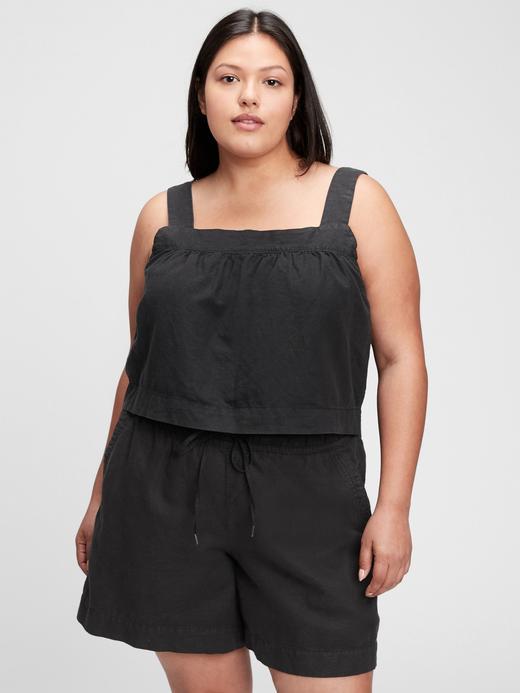 Kadın Siyah Cropped Askılı Bluz