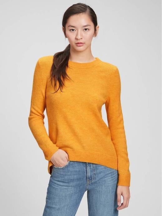 Kadın Sarı Yuvarlak Yaka Kazak