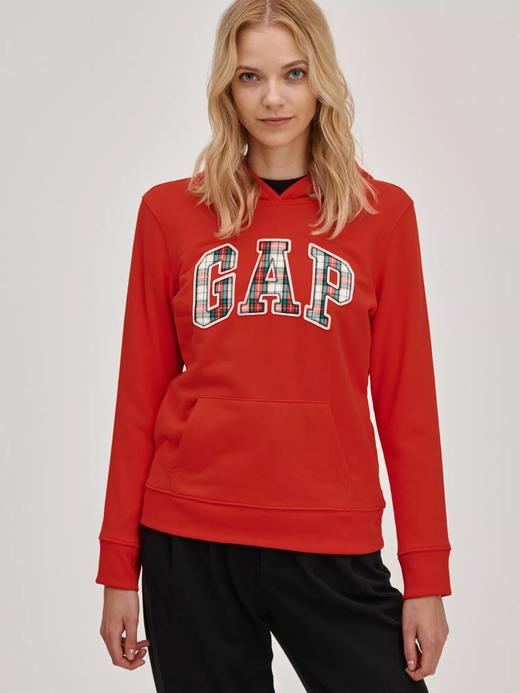 Kadın kirmizi Gap Logo Kapüşonlu Sweatshirt