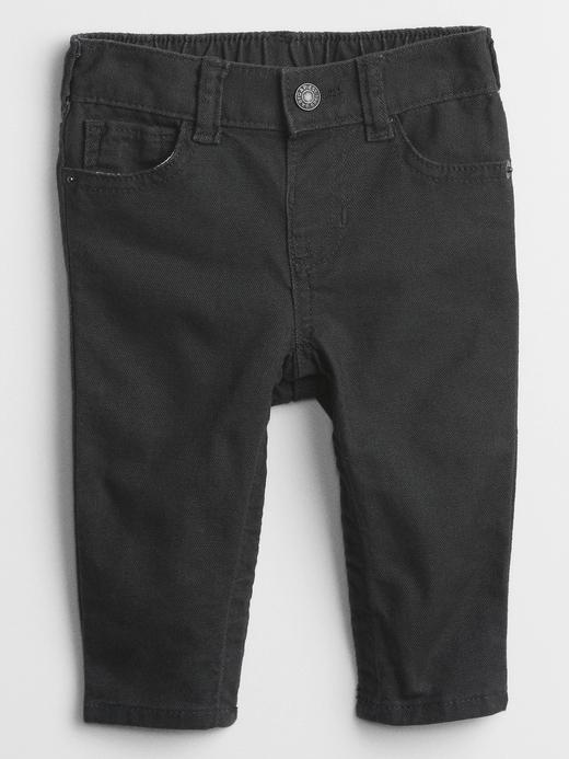 Erkek Bebek Siyah Slim Canvas Jean Pantolon
