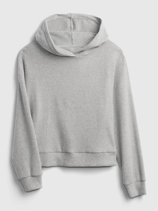 Kadın beyaz Cozy Fitilli Kapüşonlu Sweatshirt